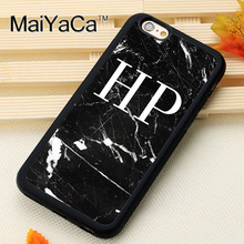 MaiYaCa PERSONALISED MARBLE INITIALS Soft Rubber Skin Mobile Phone Case Coque For iPhone 6 6S Plus 7 Plus 5 5S 5C SE Back Cover(China)