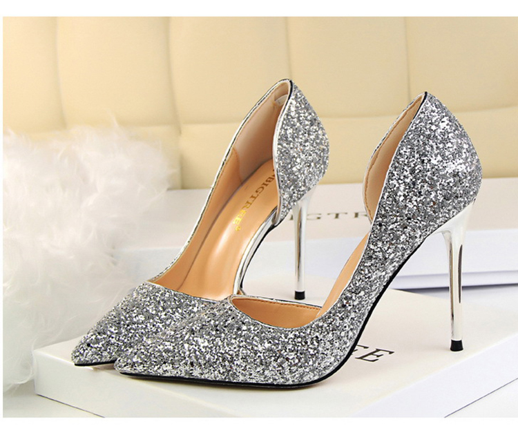 Women Pumps Sexy Glisten Women Shoes Wedding Party Dress Heels Women Hollow Shallow Mouth High Heels Stiletto 868-8 9