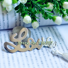 New Lovely exquisite wedding gifts love monolithic metal bookmark with tassel iron bookmark for student's favor(China)