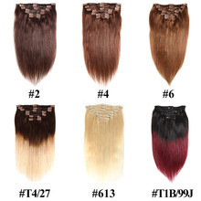 Clip In Natural Human Hair Extensions blond 613 7pcs/Set Remy Straight Hair Full Head Clip Ins Hair Extension Set(China)