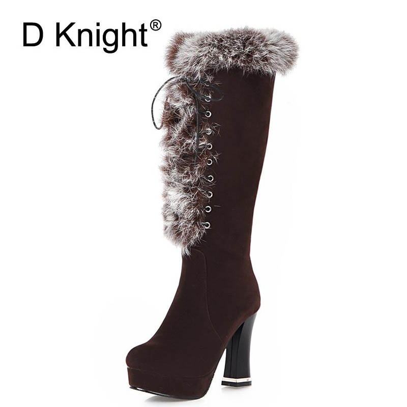 Women Knee-High Boots Plus Size 34-43 Fashion Snow Boots Winter Warm Boots Women High Heel Boots Faux Suede Black Womens Shoes<br>