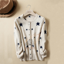 Free shipping 2016 new autumn and winter stars cashmere cardigan knit shirt casual jacket 100% pure cashmere sweater