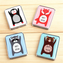 1pc random color Pet Animal Cute makeup mirror double sided enlarge folding portable mirror cosmetic compact mirrors