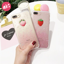 AKI Glitter Phone Cases for iPhone X 10 8 7 7S 6 6S Plus Case Soft TPU Bling Fruit Strawberry Honey Juicy Peach Phone Cases