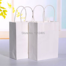 10pcs/lot White kraft paper bag with handle Party Gift Paper Bags Wedding Favors 21*15*8cm STD01-4(China)