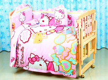 Cover for 5pc crib bedding sets,100% cotton hello kitty crib bedding set,size 120*65/100*58 hello kitty queen comforter set