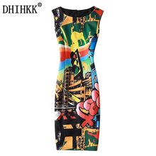 DHIHKK New Arrivals 2017 Spring and summer dress Fashion Elegant Slim Sleeveless Party dress Printed Vintage women dress