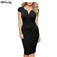 Oxiuly Womens Formal Elegant V Neck Casual Office Wear Bodycon Sheath Knee Length Pencil Working Dress