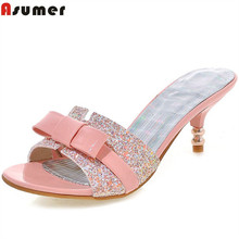 Buy Asumer 2018 hot sale new arrive women high heels slipper elegant bowkont summer shoes bling ladies prom shoes for $26.00 in AliExpress store
