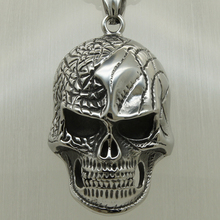 big injured skull vary width 60cm(23.6 inch)length round box steel chain 316L stainless steel pendant necklace(China)