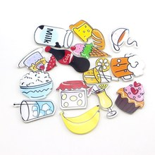 NEW Fashion 1 Piece Cartoon cake bread Beer coffee Fridge Magnets High Quality Home Decor Acrylic Refrigerator Sticker wholesale(China)