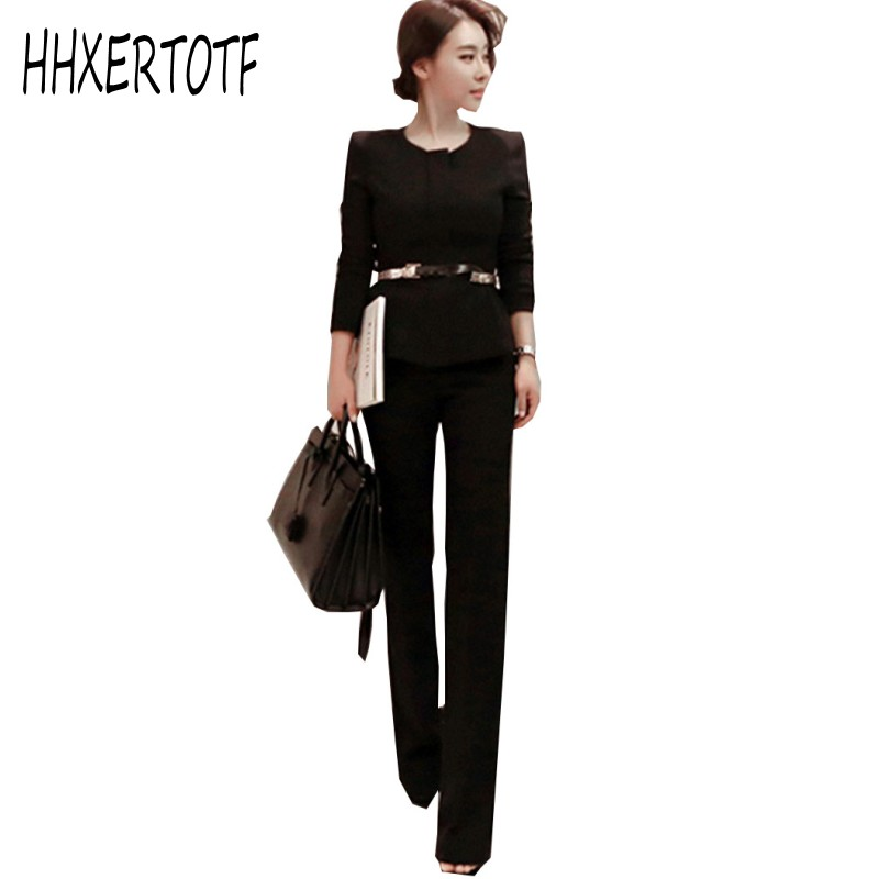 2018   Autumn Ladies Long Sleeved  Suit Jacket Coat + Wide Leg Trousers Two Piece Women Professional Pants Suit