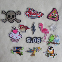 fashion 13 kind high quality mixture cartoon patter hot melt adhesive applique embroidery patches stripes DIY clothing accessory