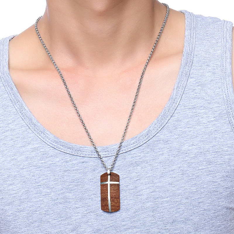 Unique Mens Necklaces Hand Crafted Rosewood Cross Inlay Pendant Necklace Men Wood Jewelry with Stainless Steel 24_ Chain collares collier colar kolye collane 111