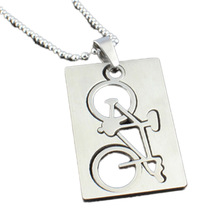 Drop Shipping Fashion Jewelry Quadrate Bicycle Pendant Stainless Steel Necklaces