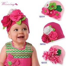 Sweet Kids Baby Girls Headwear Big 3D Flower Beanie Lovely Cap Hats Gifts(China)