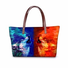 FORUDESIGNS 3D Galaxy Wolf Ladies Handbags Unicorn Tiger Print Vintage Boston Bags Stylish Large Capacity Women Totes Wholesale(China)