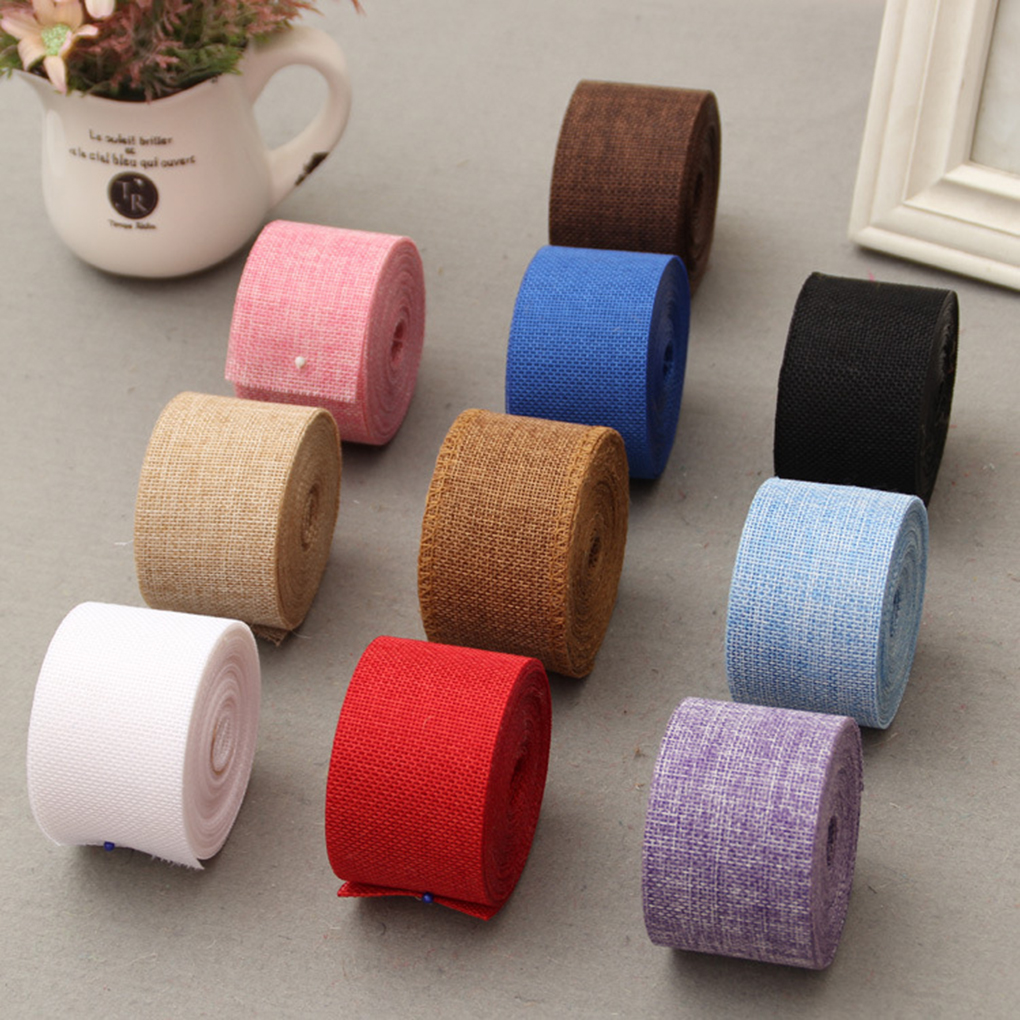 New Arrival Natural Jute Hessian Burlap Ribbon Rustic Weddings Belt Strap Craft 10 Colors