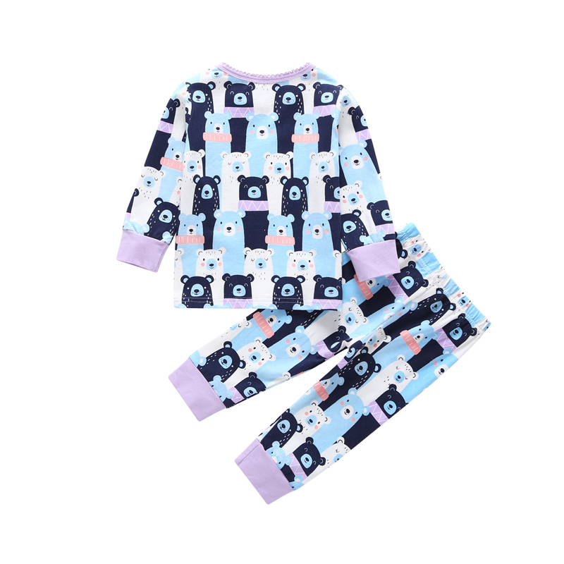 cute cartoon bear Pajamas Set for baby girl spring autumn 2 pieces clothing set newborn boy set T-shirt+pant Sleepwear Nightgown