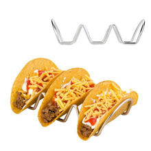 Stainless steel Taco holder pizza pie board stand Mexican food bun rack hotdog shell appetizers buffet serving tray plates tools