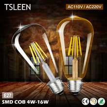 TSLEEN 110V 220V ST64 Vintage Led Lamp E27 Retro LED Filament Light Bulb 8W 12W 16W Glass Edison Lamparas COB Gold Decoration
