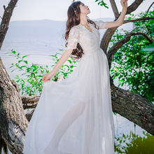 Luxury Runway V-Neck Princess Dress Lace Flowers White Fairy Elegant High Quality Beach Holiday Long Maxi Dress for Bridal Lady