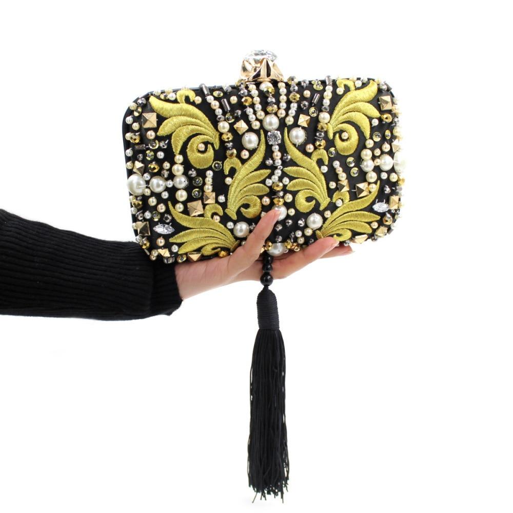 Women Evening Bags Embroidery Beaded Wedding Clutch Purse ladies Evening Bag For Wedding Rhinestone Diamond Tassel Bags<br>