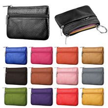 Soft Men Women Card Coin Key Holder Zip Genuine Leather Wallet Pouch Bag Purse Storage Bags
