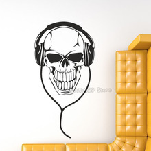 3D Hot Sales Hollow Out Music DJ Skull With Headphones Wall Stickers Vinyl Removable Home Decoration Living Room Bedroom YY475(China)
