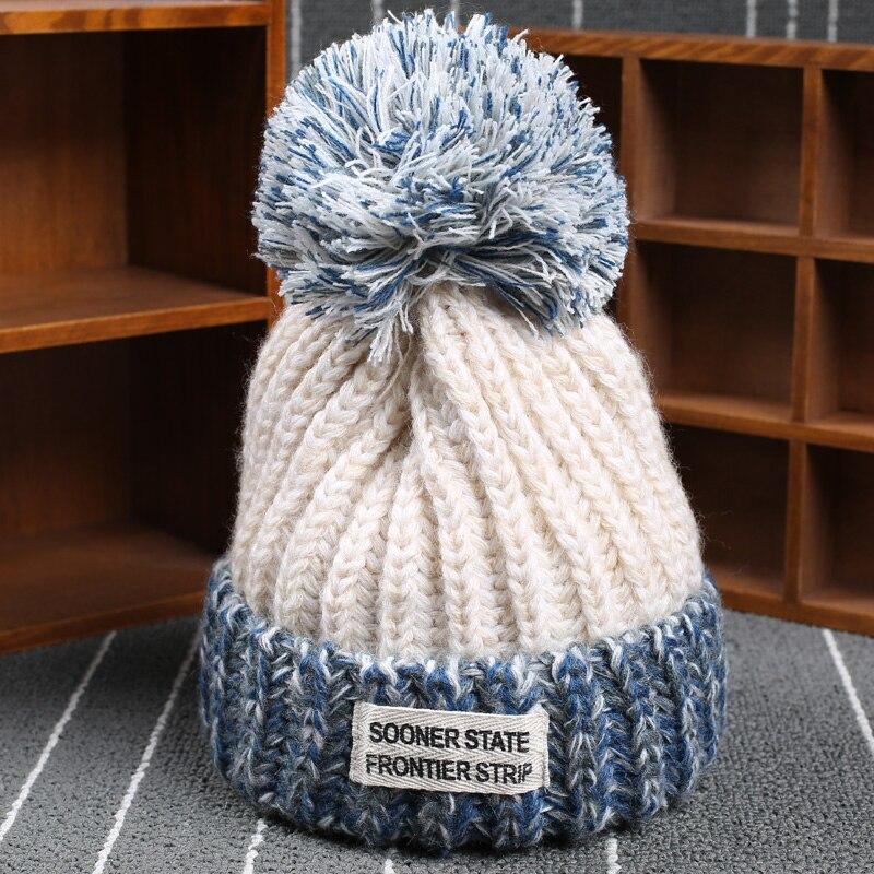 2016 New Product Winter Style Spring Wool Patchwork Line Ball Knitting Upset Warm Hats For Boys Girls Kids Beanie HatÎäåæäà è àêñåññóàðû<br><br><br>Aliexpress