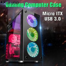 Black Computer PC ATX Gamer Gaming Case Enclosure Computer Case Tower USB 3.0 Micro ATX Mid Tower Water Cooling Enclosure(China)