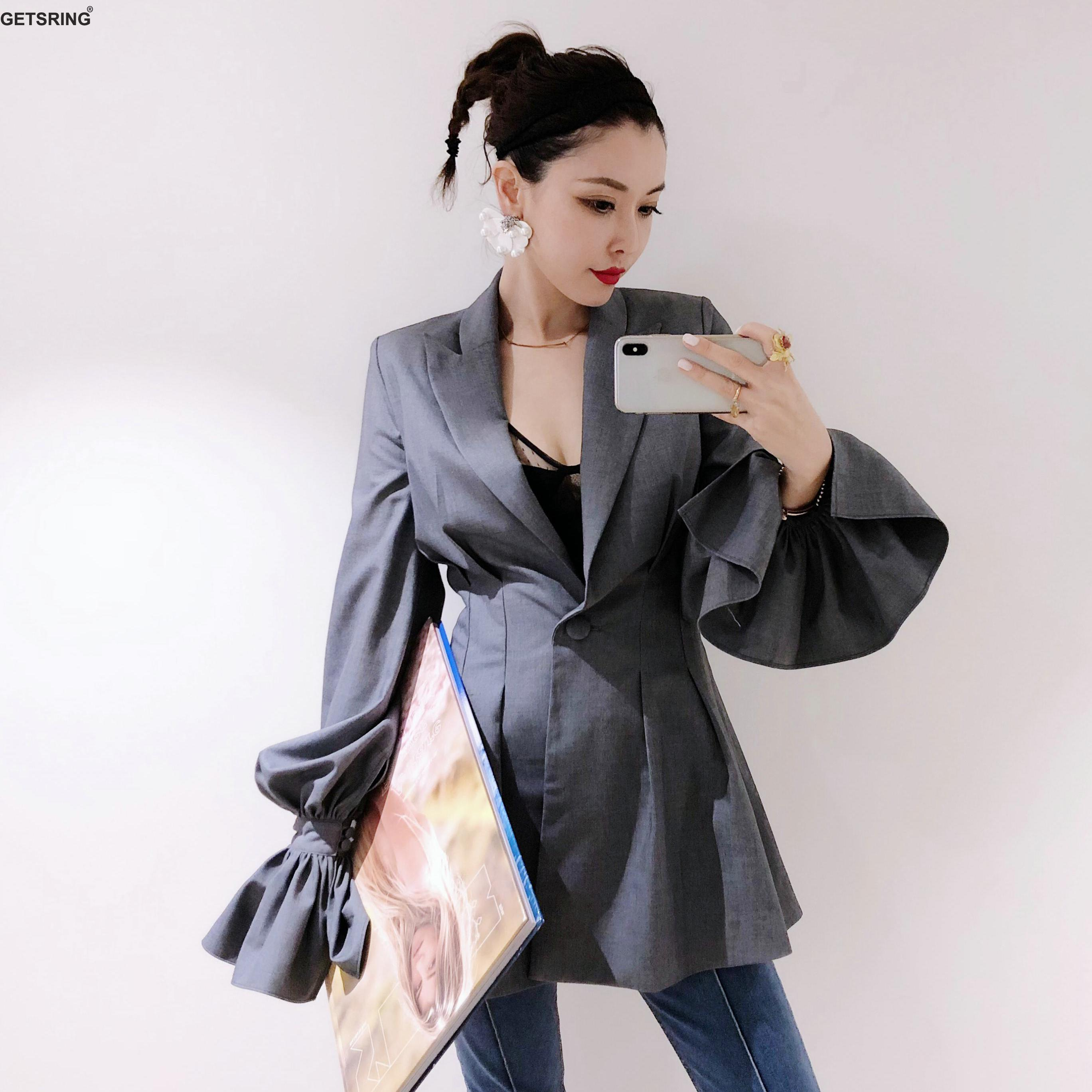 GETSRING Women Blazer Gray Thin Slim Leisure Suit Women Flare Sleeve Solid High Waist Women Blazers And Jacket 18 Spring Autumn
