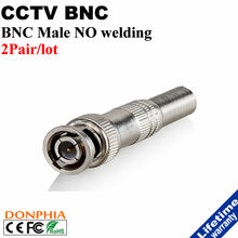 BNC Male Solderless Connector with screw Plug to RG59 Coax Cable couple adapter for Video Survellance Camera CCTV Accessories