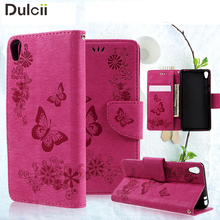 For Sony Experia E5 Cartoon Case Imprint Butterfly Flower Stand PU Leather Wallet Chekhol Shell for Sony Xperia E5