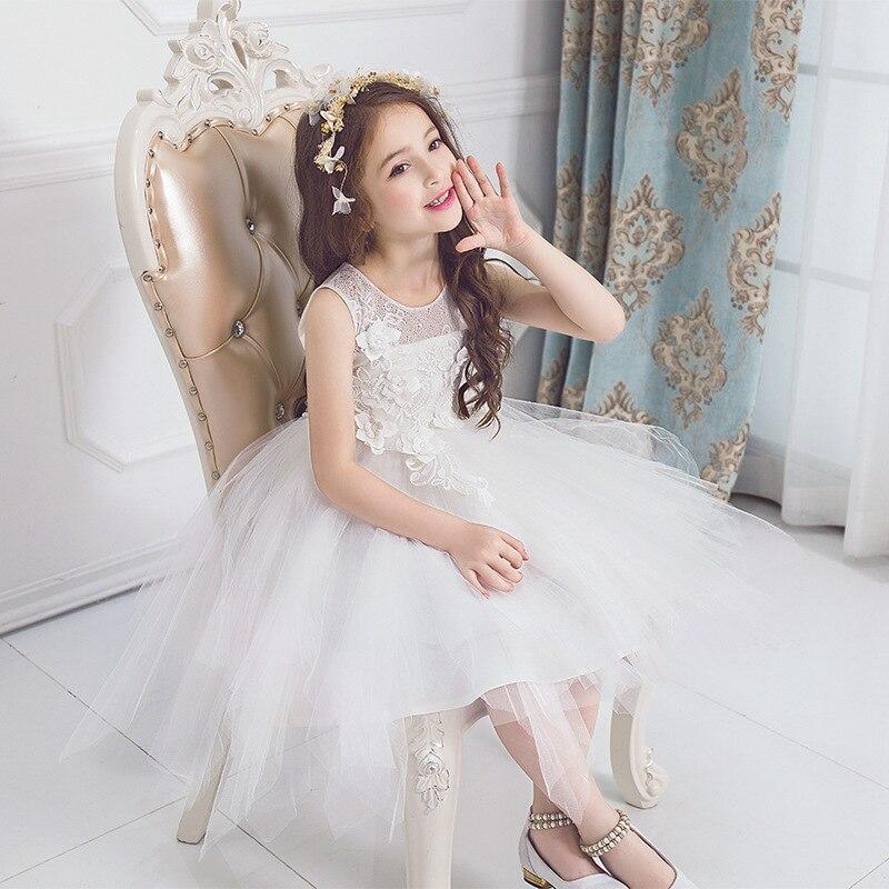 Children Wedding Dress Full Dress Girl Princess Thick And Disorderly White Korean Girl Flower Dress<br>