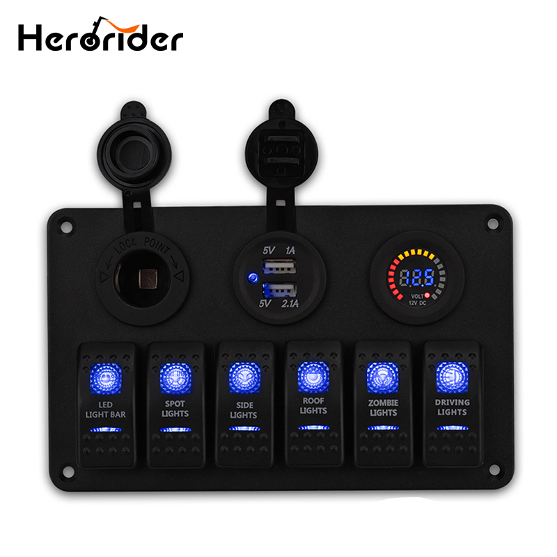 Herorider 6 Gang Waterproof 12v Rocker Boat Switch Panel Circuit Breakers Vehicle Auto Marine Switch Panel USB Socket Voltmeter(China)