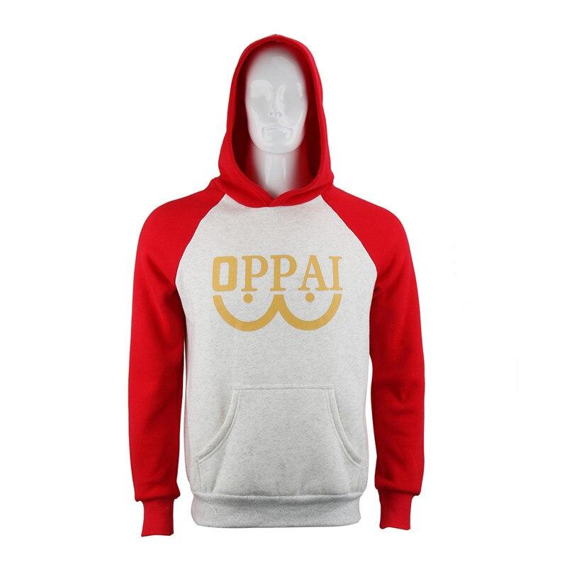 One Punch man Saitama Oppai Hoodie Hooded Sweatershirts Pullover Cosplay Costume