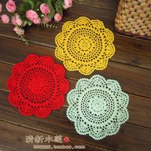 Free shipping 2015 new cotton crochet lace doilies for home decor with flower cup pads coaster placemat as innovative item mats