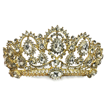 Gold Color Big Baroque Vintage Clear Crystal Prom Pageant Crowns Rhinestone Wedding Bridal Tiara For Women Bride Hair Accessory