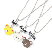 New Arrivals 3Pcs Set Best Friends Charms BFF Resin Cute Bear Sandwich Cookies Pendant kids Chain Necklace Jewelry For Birthday