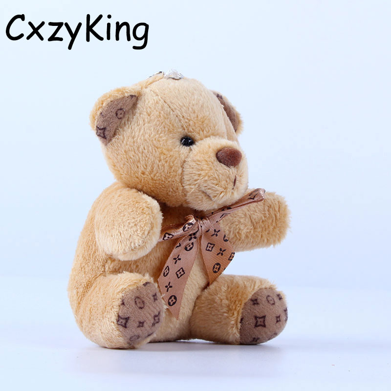 CXZYKING 20PCS/lot Promotion Gifts 10CM bow Tie Brown Teddy Bear Mini Joint Plush Keychain Bear Bouquet Toy/phone Pendant(China (Mainland))