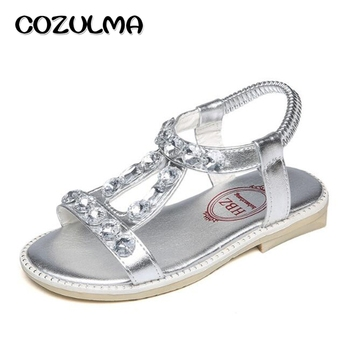 COZULMA Summer Girls Sandals Kids Rhinestone Princess Sandals Girls Fashion Shoes Children Gladiator Shoes Sandals Silver Gold