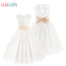 iiniim 2017 Elegant Baby Girls Party Dress Sleeveless White Champagne Flower Dresses Bow Princess Kid Pageant Dress Age 2-12T