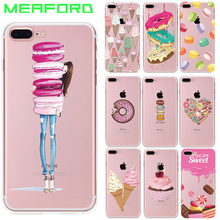 Phone Case For iPhone 6 6S Cover Colorful Food Dessert Macarons Cupcake Donut Soft Silicone TPU Case For iPhone 6 S 6S i6 4.7""