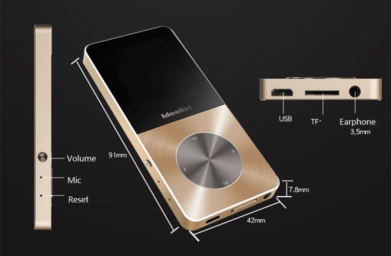 Brand Idealist Metal MP3 MP4 Player 4GB/8GB/16GB Video Sport MP4 Flash HIFI Slim MP4 Video Player Radio Recorder Walkman Speaker 18