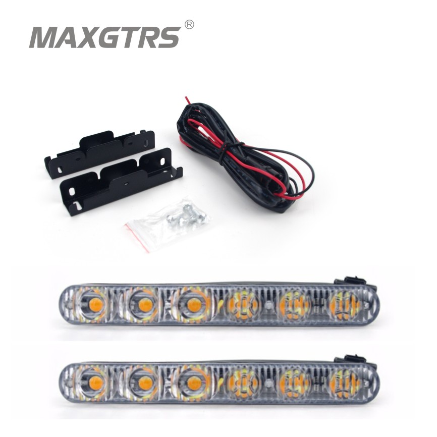 2x DRL High Power 2X6 Led 18W Led Car Light Source Light Waterproof DC12V Car Styling White/Ice Blue With Amber Turn signal<br><br>Aliexpress