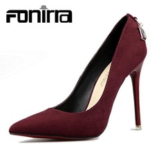 2017 Women's Pumps Flock Leather High Heel Shoes Ladies Sexy Wedding Party Shoes For Woman 283