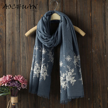 Brand fashion Ethnic Style scarf New Luxury embroidery lace Flowers borders scarf women cotton viscose shawls plain hijabs W37