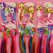 Fashion Lovely Little Horse Cartoon Hair clips Unicorn Hairpin Kids Girls hair accessories with Long Colorful Wig Decoration(China)
