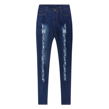 Female Denim Skinny Jeans Stretch Pencil Trousers Slim Long Pants Blue Color(China)